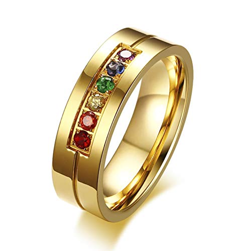 Sping Jewelry Avenger Thanos Infinity War Six gem Stones Inlay Groove Line 18k Gold Plated Titanium Band for Kids Adults -