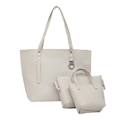TPulling Weiche Art Und Weise Herbsttasche Damen Dreiteilige PU-Leder-Litschi-Schultertasche + Griff-Tasche + Tasche (Grau)