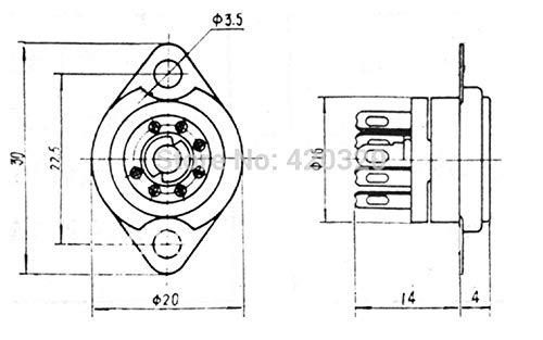 Davitu 20pcs ceramic tube socket seat GZC7-F small 7 pin silver feet for 6J1,6J2,6J3,6J4,6J5,6Z4,EAA91,EC92 by DAVITU (Image #3)