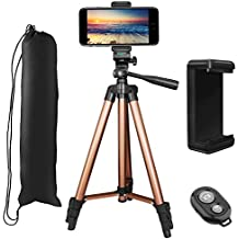 """Phone Tripod, PEYOU 50"""" Aluminum Video Camera Tripod + Bluetooth Wireless Remote + Universal Smartphone Holder Mount Compatible for iPhone Xs Max XS XR X 8 Plus 7 6 6S Plus,Galaxy Note 9 8 S9 S8 Plus"""