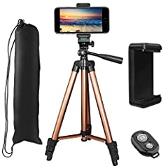 "Peyou Lightweight & Portable Aluminum Tripod Stand with Phone Mount Holder & Bluetooth RemoteDo you like traveling and taking pictures with your camera or phone?Are you tired of asking stranger to help take photo of you?Peyou 50"" Alum..."