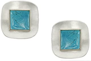 product image for Marjorie Baer Silver and Turquoise Clip on Earring