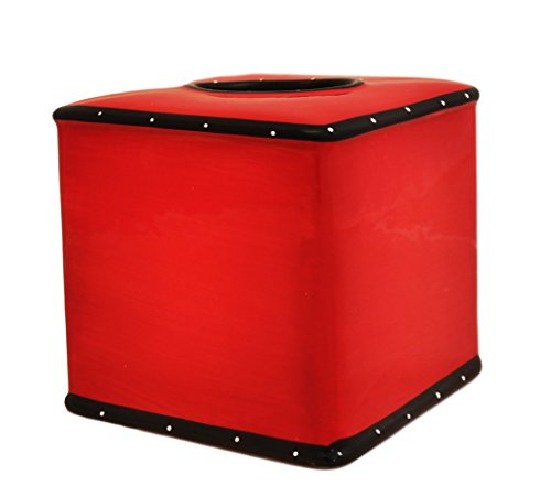 (Tuscany Ruffle Red Ceramic Tissue Box Cover, 85287 by ACK)