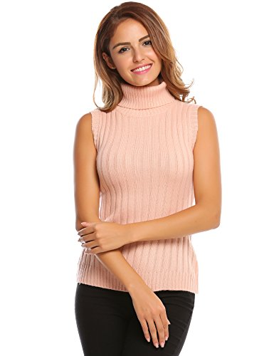 (Zeagoo Women's Sleeveless Turtle Neck Cable Knit Pullover Sweater Pink S)