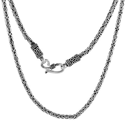 3mm Sterling Silver Round BYZANTINE Chain Necklace Antiqued Finish Nickel Free, 24 - Sterling Oxidized Necklace