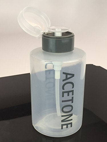 Beauticom XL Push Down ACETONE Dispenser- Clear Bottle- Labeled - 12 Oz Bottle (GRAY)