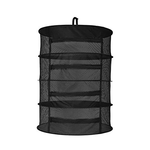 - OPULENT SYSTEMS 2ft 4 Layer Herb Collapsible Drying Rack W/Zipper Black Mesh Trays Dry Net Hanging for Hydroponics