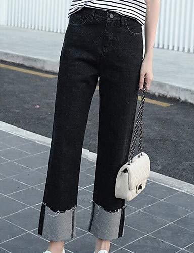 Taille Basique YFLTZ Black Femme Jeans Pantalon Plus Unie Haute Taille Couleur SP78wqS
