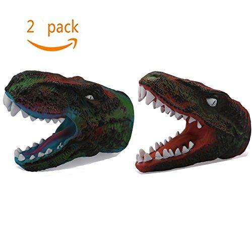 Dinosaur Gloves Tyrannosaurus Rex Children Costume Rubber Puppet Soft Animal Head Figure For Kids - Red Green