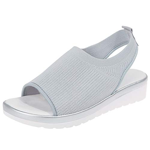 Women's Athletic Walking Shoes Casual Mesh Comfortable Work Sneakers ,Londony Casual Espadrilles Trim Open Toe Sandal Gray