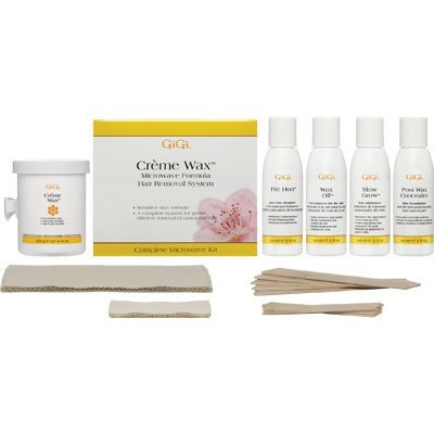 GiGi Sensitive Skin Microwave Professional Waxing Kit, with TWO 8 Ounce Microwaveable Creme Wax Containers, and 10 Accu Edge Applicators (5 Large & 5 Small), 20 Muslin Srips (10 Small & 10 Large), Assorted Pre & Post Lotions and Creams, Bonus FREE Bikini Soothing Cream