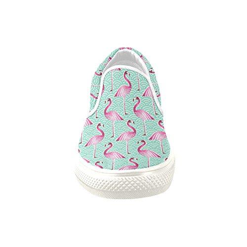 D-Story Custom Sneaker Pink Flamingo Women Unusual Slip-on Canvas Shoes (Model 019) luxmQBV