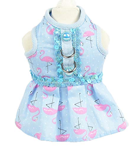 Dress XL dress XL Lbx Pet Flamingo Style Vest Dress bluee Knitted Fabric Material A Variety of Styles Multiple Sizes Durable Easy to Clean Pet Fashion Breathable Vest