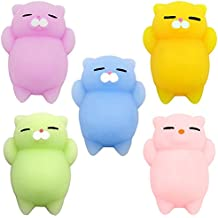 Mochi Squishy Cat, Doselly 5 Pcs Squishy Toys Kawaii Squishies Mochi Squishy Animals Squishy Kitty Stress relief Toys Squishy Cats Great Christmas Gift for Kids & Adults
