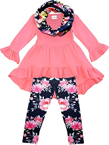 Boutique Toddler Girls Vintage Floral Tunic Legging Scarf Outfit Set Coral Navy 2T/S ()