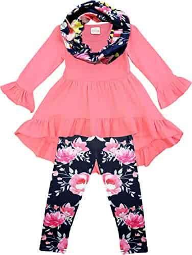 Amor Bee Girls Valentines Day Love Hearts Outfit Set Top Leggings Scarf 3pc Set