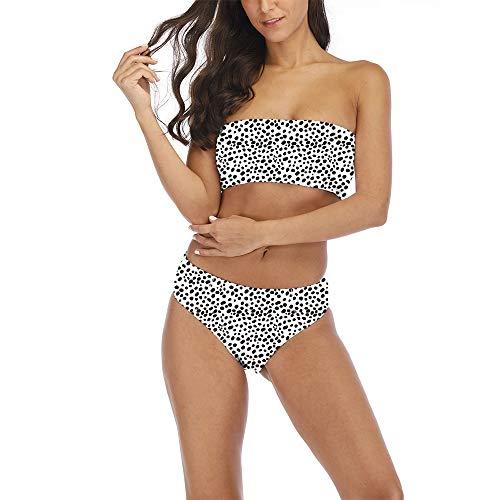 ASNUG Women's 2 Pieces Bandeau Bikini Set Swimsuits Off Shoulder Removable Strap Wrap Pad High Waist Bathing Suit