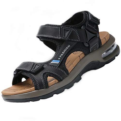 Waterproof Hiking Sandals - Visionreast Mens Leather Sandals Open Toe Outdoor Hiking Sandals Air Cushion Sport Sandals Waterproof Beach Sandals