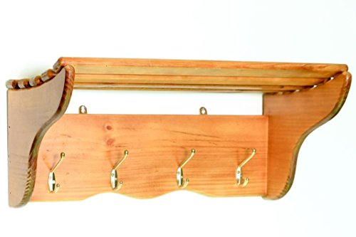 Wooden Carriage Rack - 4 Hooks and wide shelf - Wall Mount