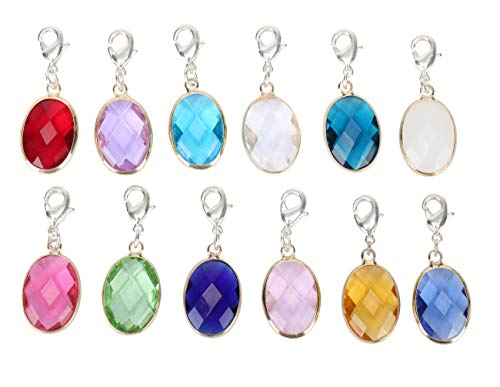 2pcs Clip On December Birthstone Charms with Lobster Clasp Austrian Crystal Beads for Jewelry Craft Making CCP6-12-L