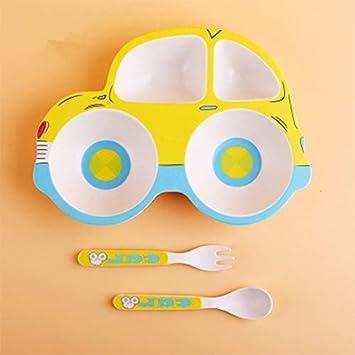 YANG CUIYAN-ER 3pcs Children Tableware Set Kids Bamboo Plate Baby Feeding Tray Divided Dinnerware