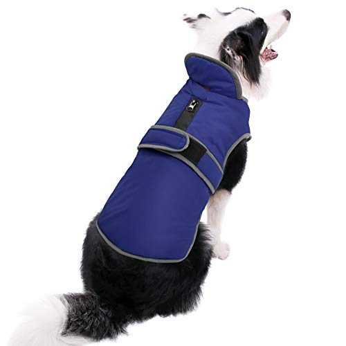 (MIGOHI Reflective Waterproof Windproof Dog Coat Cold Weather Warm Dog Jacket Reversible Stormguard Design Winter Dog Vest for Small Medium Large Dogs Navy)