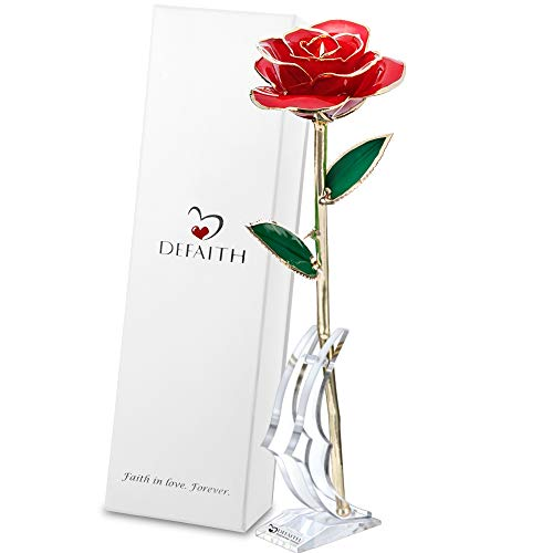 - DEFAITH 24K Gold Rose Made from Real Fresh Long Stem Rose Flower, Great Anniversary Gifts for Her, Red with Stand