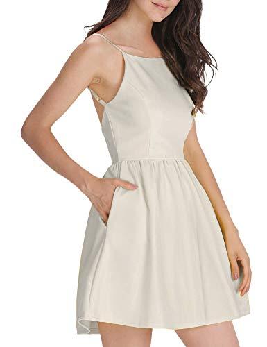 FANCYINN Women's Casual Short Dress Spaghetti Strap Backless Mini Skate Dress Apricot S
