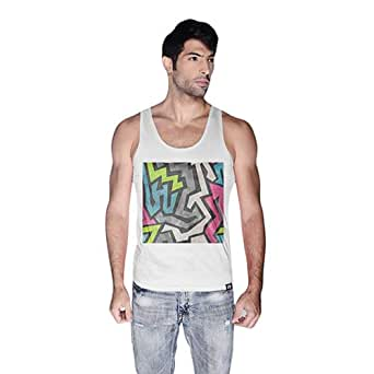 Creo Abstract 01 Retro Printed Tank Top For Men - M, White