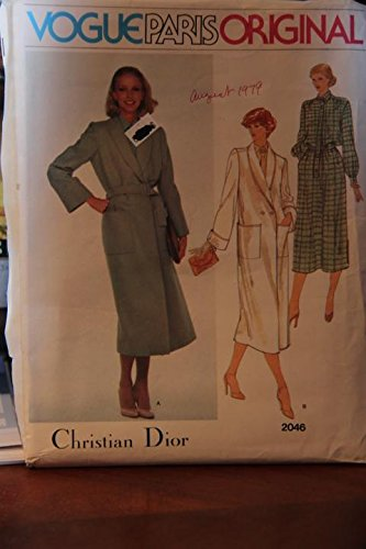 Vintage Vogue Paris Original 2046 Size 10 - Misses' Coat, Belt, Dress And Tie (uncut pattern, envelope has tear)