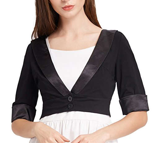 Bolero Satin Stretch - GRACE KARIN Women 1/2 Sleeve Open Front Cropped Cardigan Jacket L Black