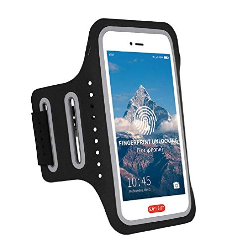 Armband for Phone Running Armband,Arm Holder for Cell Phone iPhone Running Armband 8 Plus 7 XR X iPhone Xs Max Armband for Running/Workout/Sports/Exercise/Gym with Fingerprint Touch ID,Key&Card Pouch