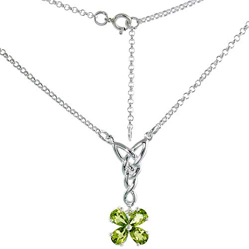 Sterling Silver Celtic 4-Leaf Clover Love Knot Necklace with Genuine Peridot, 16-17 inch Long (Peridot Celtic Knot)