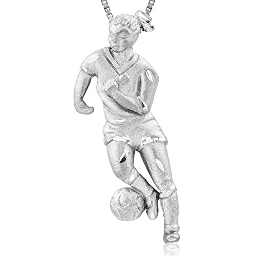 Sterling Silver Female Player Necklace Pendant