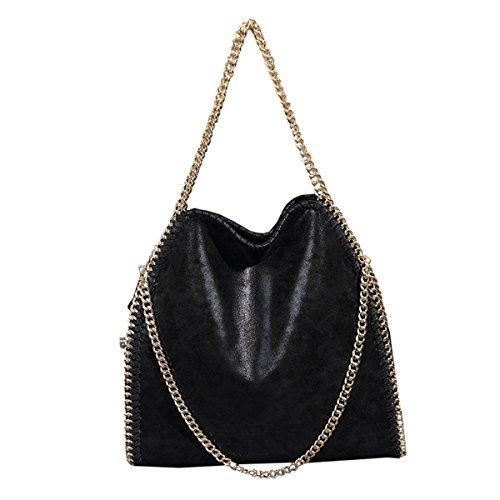 dama 2 Mioy Negro Bolso mano Color PU bolso bolso bandolera Mujer mensajero sólido de moda Casual cuero Bolso TFrqaTfOn