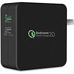 30W 2-Port Adaptive Fast USB Home Wall Travel AC Charger Power Adapter Quick Charge Dual Port Smart Detect Black for Amazon Fire HD 10, 8, Kindle DX, Fire, HD 6, 7, 8.9, HDX 7, 8.9