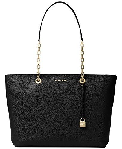 Michael Michael Kors Mercer Medium Leather Shoulder Bag (Black Link Chain Shoulder Bag Leather)