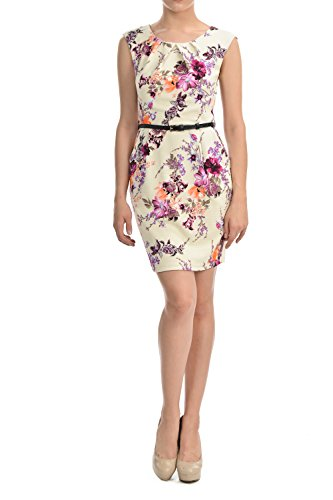 Auliné Collection Women's Color Office Workwear Sleeveless Sheath Dress Floral Cream Magenta Large