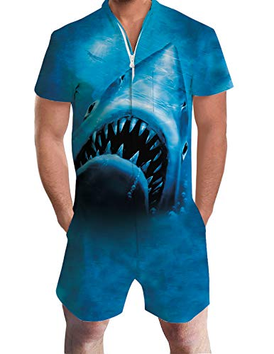 Uideazone Male Romper Shark Style Funny Zip up