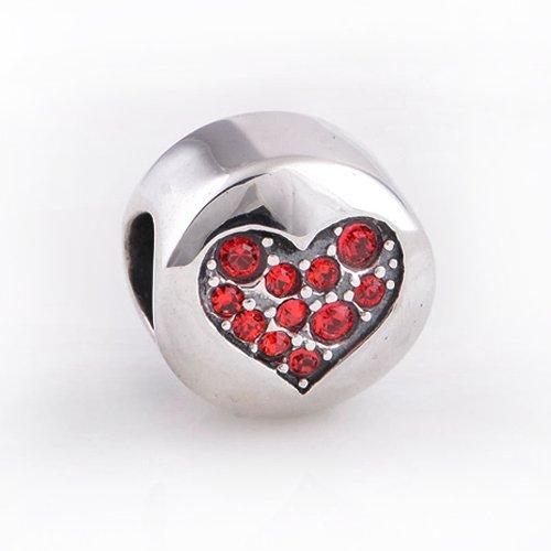 Everbling Love Heart with Swarovski 925 Sterling Silver Bead Fits Pandora European Charm Bracelets
