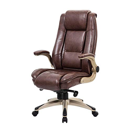 KADIRYA High Back Bonded Leather Executive Office Chair – Adjustable Recline Locking Mechanism, Flip-up Arms Computer Desk Chair, Thick Padding and Ergonomic Design for Lumbar Support, Brown