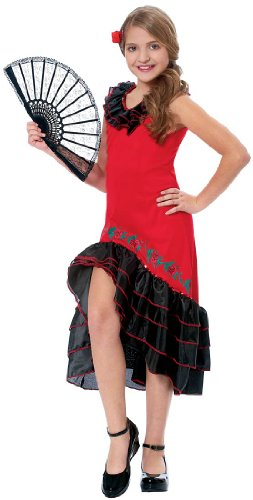 Childs Flamenco Dress (Costume Culture Women's Senorita Girl's Costume, Red, Large)