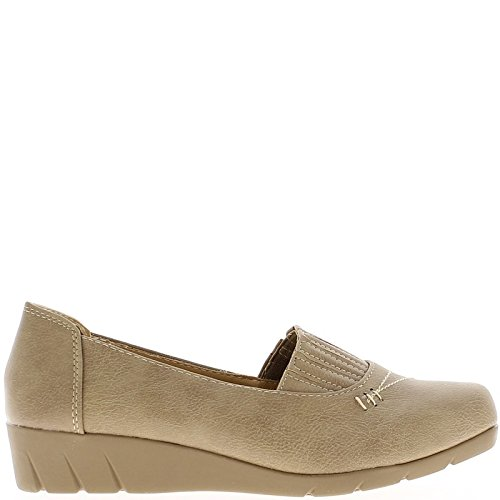 Zapato confort mujer taupe con elástico superior