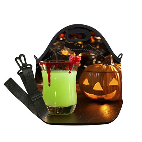 Custom Digital Printing Insulated Lunch Bag,Neoprene Lunch Tote Bags Picture of Halloween drinks vampires kiss cocktail Multicolor,for Adults and children waterproof Lunch Box