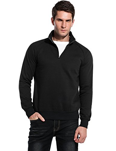 COOFANDY Mens Slim Fit Polo Sweaters Casual Long Sleeve 1/4 Zip Up Pullover Sweatshirt