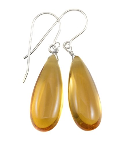 Sterling Silver Yellow Simulated Citrine Earrings Smooth Cut Rounded Long Teardrops Dangle Style