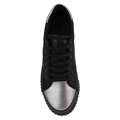 Stiefelparadies Damen Sneaker Low Metallic Turnschuhe Glitzer Freizeit Schuhe Schnürschuhe Flats Sportschuhe Schnürer Flandell Schwarz Silber Grau