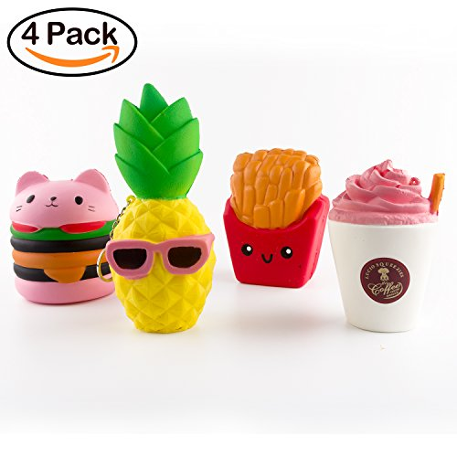 BeYumi Slow Rising Toy, Kawaii Hamburger, Fries, Pineapple, Drinks Set Meal Squishy Cream Scented Decompression Squeeze Toys for Collection Gift, decorative props Large or Stress Relief