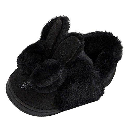 Hunpta Baby Leder Bowknot Gummi Soft Sole Schnee Stiefel Soft Krippe Schuhe Kleinkind Stiefel Schwarz