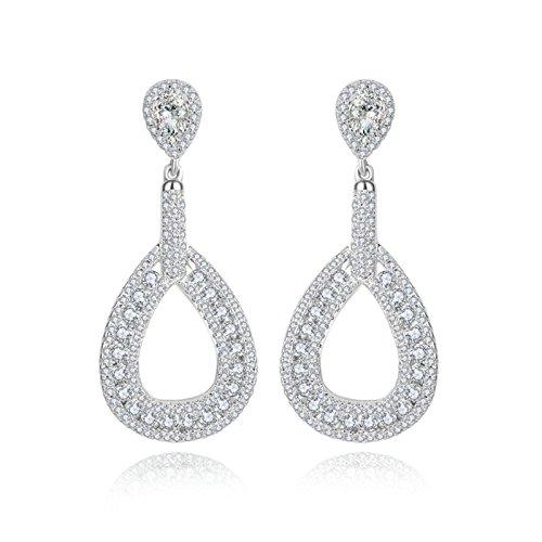 Gnzoe White Gold Plated Women Drop Earrings 3-Prong White Cubic Zirconia Teardrop Oval Dangle 40.5x17.8MM